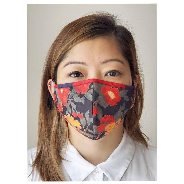 red floral face mask reusable breathable