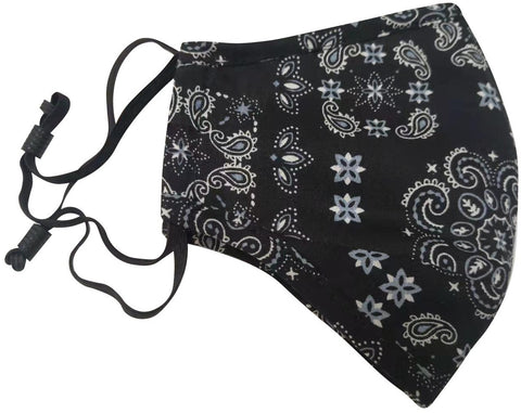 Black Paisley Bandana Face Mask