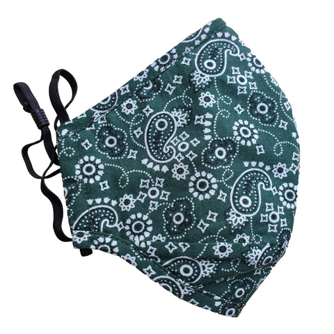 green paisley bandana face mask