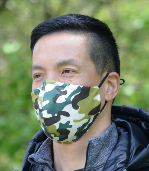 camo face mask man is wearing