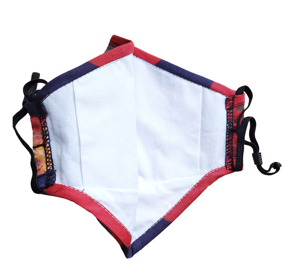 red floral face mask inner filter pouch