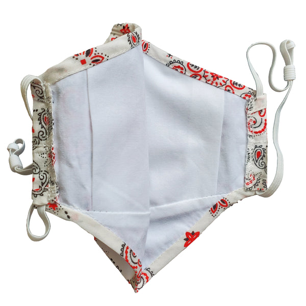 white paisley bandana face mask with inner filter pouch