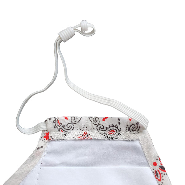 white paisley bandana face mask with elastic earband