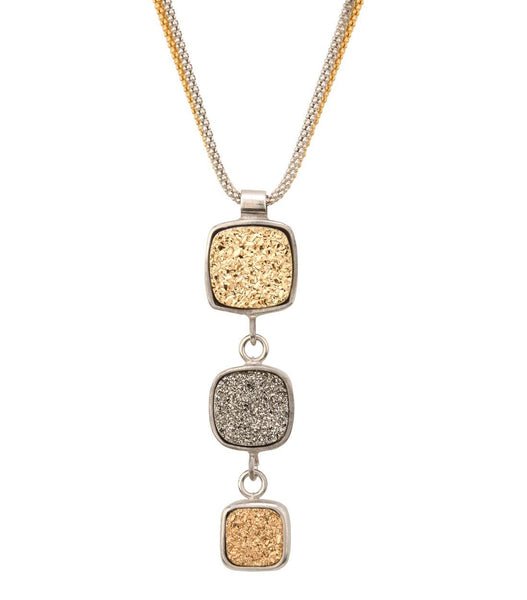 Frederic Duclos Triple Golden Drusy Necklace