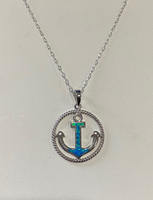 Opal Anchor Necklace