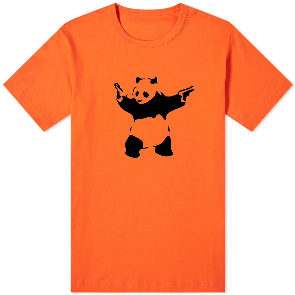 Banksy Panda T-Shirt Orange - Amhero