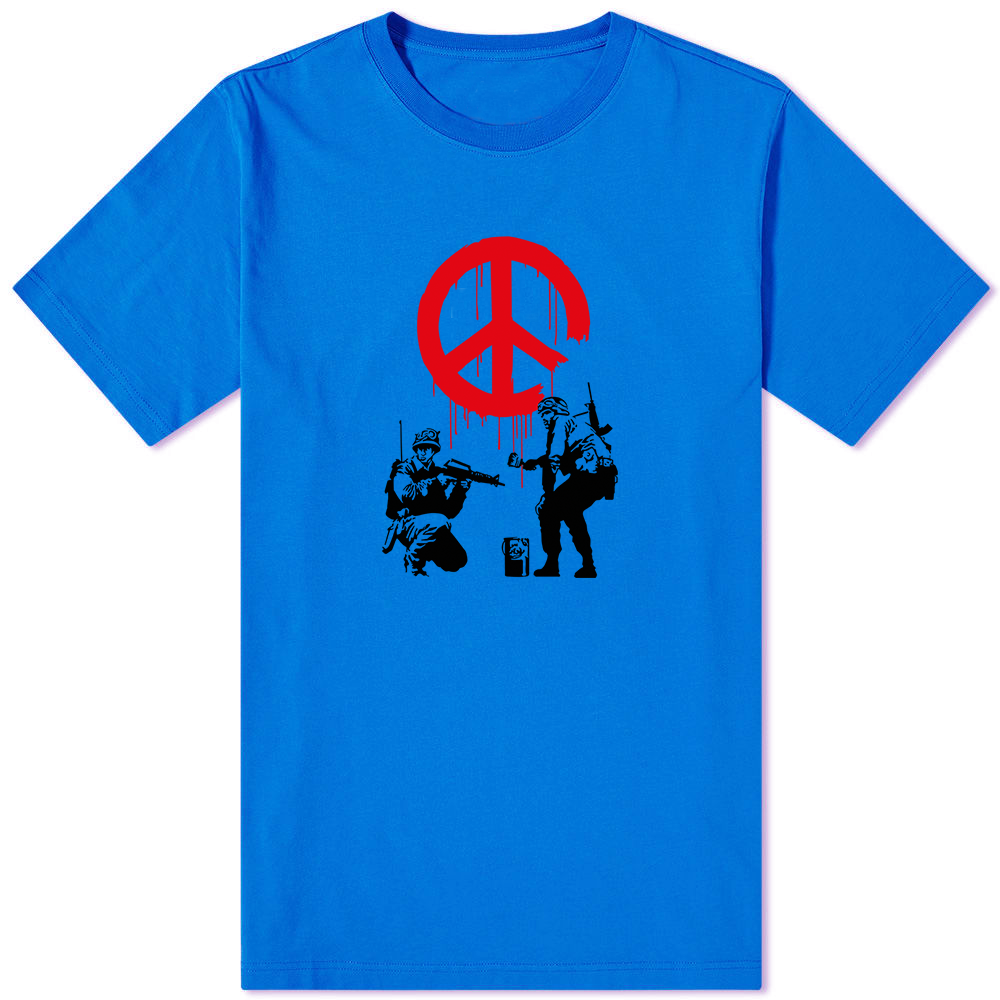Banksy Peace T-Shirt Blue - Amhero