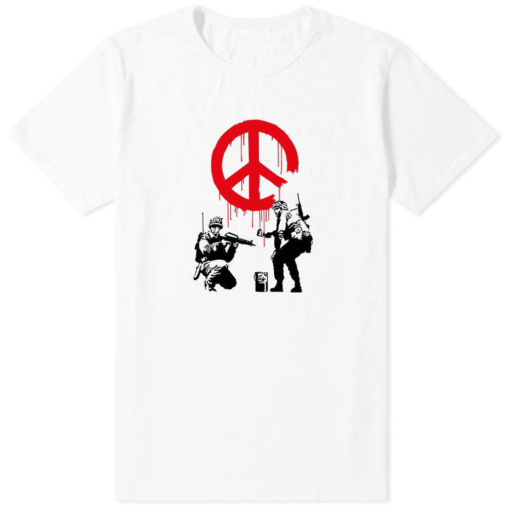 Banksy Peace T-Shirt White - Amhero