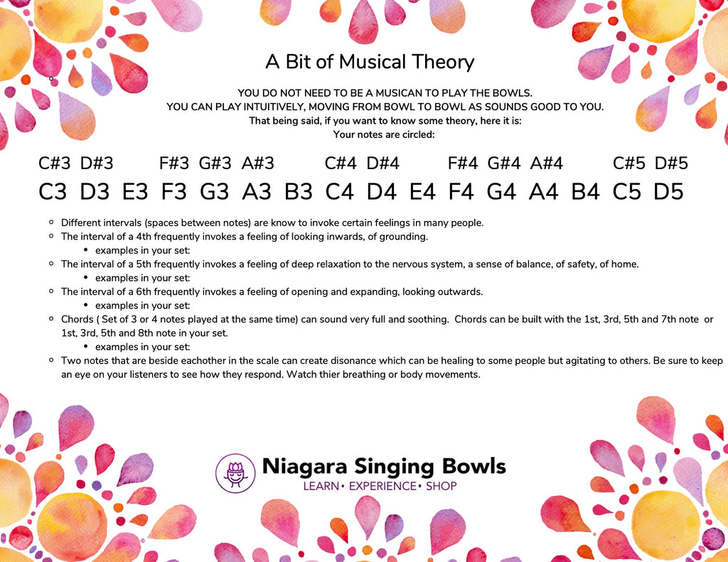 Basic music theory and interval with singing bowls