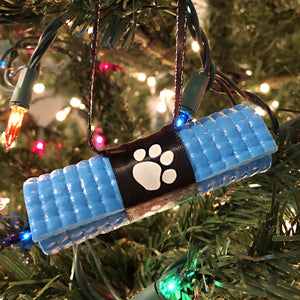 Pet Yoga Paw Print Ornament - light blue