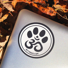 Load image into Gallery viewer, Pet Yogis circle sticker on macbook