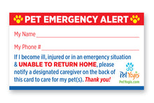 Load image into Gallery viewer, Pet Emergency Alert Card frontside - Pet Home Alone Card