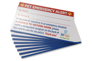 Pet Emergency Alert Card / Pet Home Alone Card