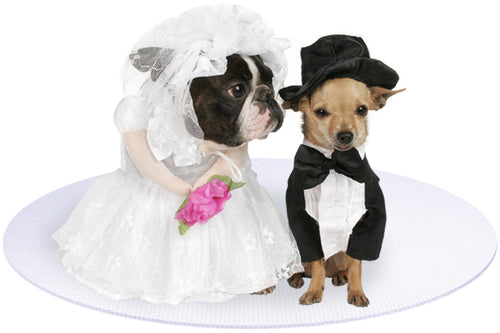 Bride and Groom Dogs on White Round Wedding Pet Mat
