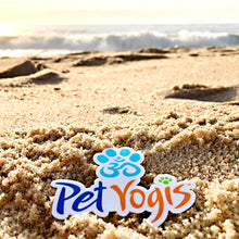 Load image into Gallery viewer, Pet Yogis vinyl sticker on beach