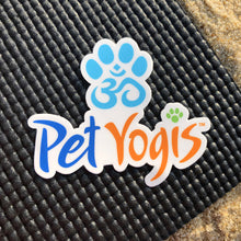 Load image into Gallery viewer, Pet Yogis vinyl sticker on black yoga mat