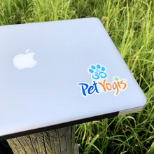 Load image into Gallery viewer, Pet Yogis vinyl sticker on macbook