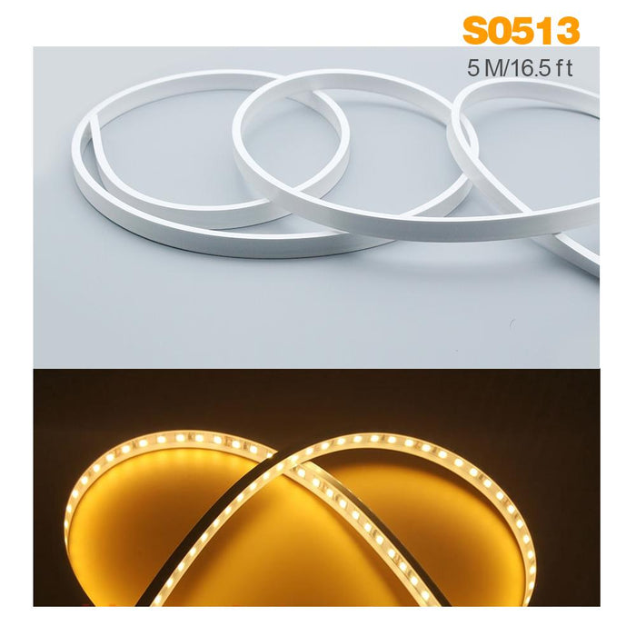 1M/5M/10M/20M  Pack of T0513 LED Neon Light Housing Kit with End Caps and Mounting Clips, Flexible Neon Channel Fit for 10mm Wide LED Strip Lights - LEDStrips8