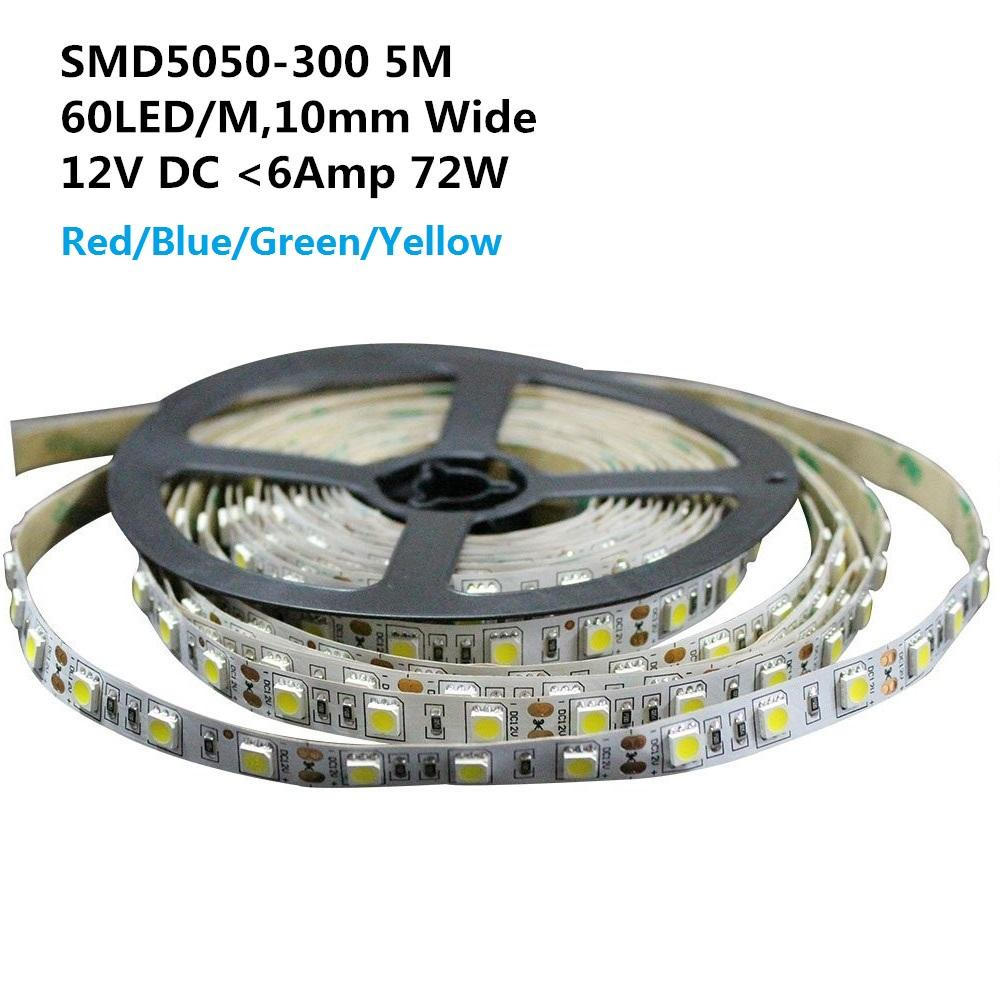 DC 12V Red/Blue/Green/Yellow Dimmable SMD5050-300 Flexible LED Strips 60 LEDs Per Meter 10mm Width 900lm Per Meter - LEDStrips8