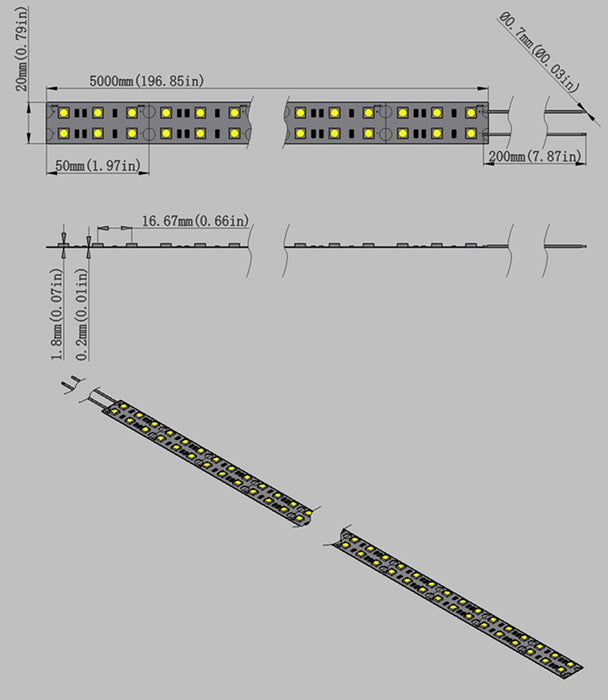 DC 12V Dimmable SMD5050-600 Double Row Flexible LED Strips 120 LEDs Per Meter 15mm Width 1800lm Per Meter - LEDStrips8