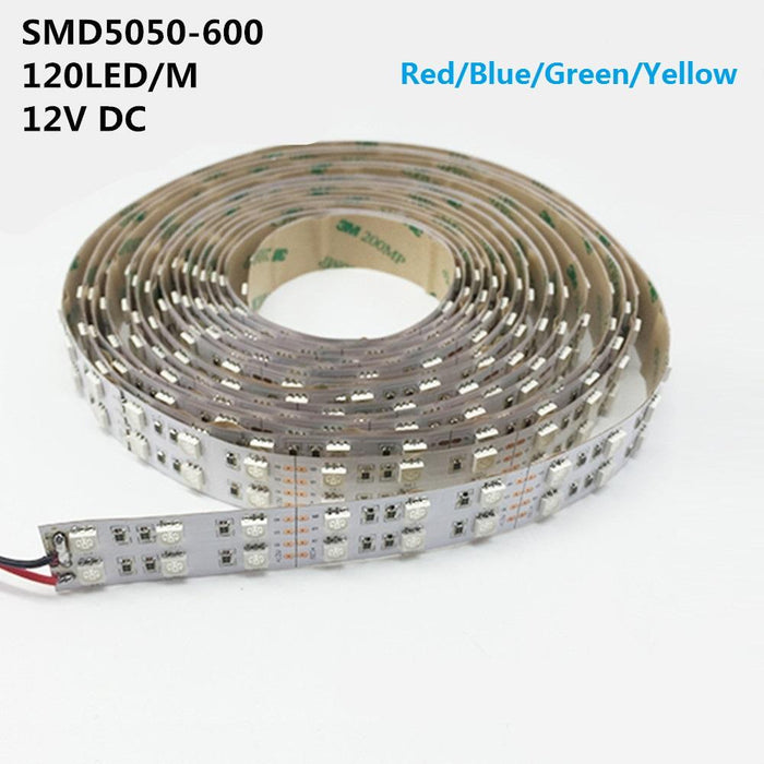 DC 12V Red/Blue/Green/Yellow Dimmable SMD5050-600 Double Row Flexible LED Strips 120 LEDs Per Meter 15mm Width 1800lm Per Meter - LEDStrips8