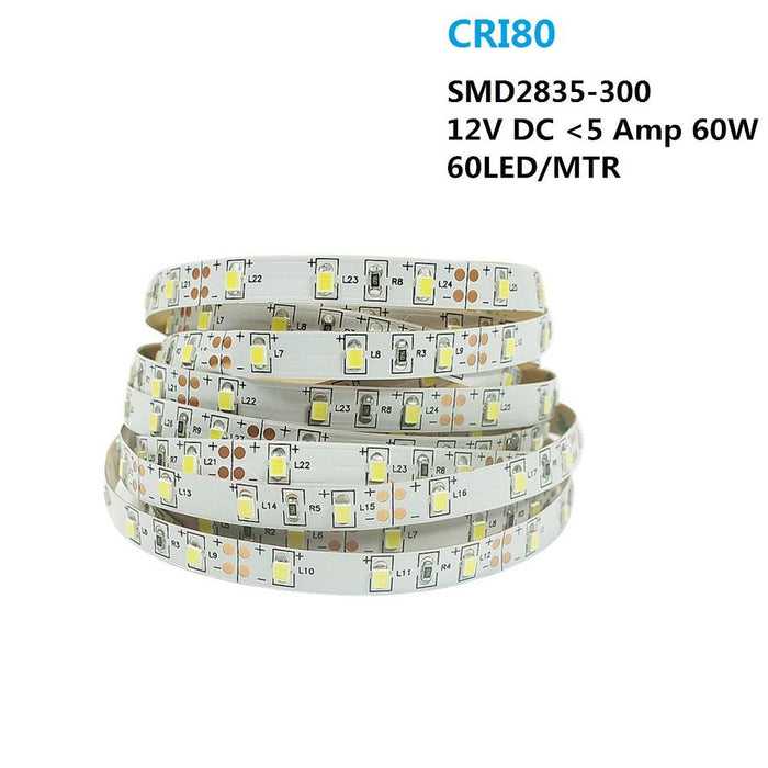 2700K/3000K/4000K/5500K White Color DC 12V Dimmable SMD2835-300 Flexible LED Strips 60 LEDs Per Meter 8mm Width 1000lm Per Meter LED Tape Light - LEDStrips8