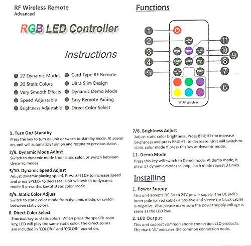 DC5-24V 12A RGB LED Dimmer Controller with Mini RF Wirelless 17keys Remote Controller for SMD5050 3528 RGB LED Strip Lights - LEDStrips8