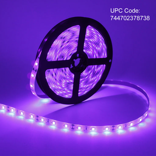 24 Watts UV Black Light LED Strip, 16.4FT/5M 3528 300LEDs 395nm-405nm Non-Waterproof Blacklight Night Fishing Implicitly Party with 12V 2A Power Supply