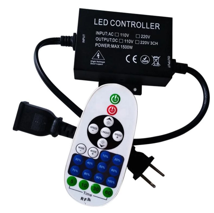 1500Watt AC110V/220V LED Dimmer for 110V/220V LED String Light, Wireless Remote Control Dimmer with 3 Prong Outlet, Timer Switch - LEDStrips8