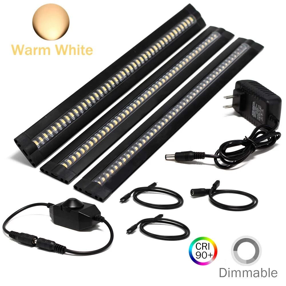 Ultra Thin LED Under Cabinet/Counter Kitchen Lighting Plug-in, Dimmable 2 Coin Thickness LED Light with 42 LEDs, Easy Installation Warm White 12V/2A 5W/450LM CRI90, 3 Pack, All in One Kit - LEDStrips8