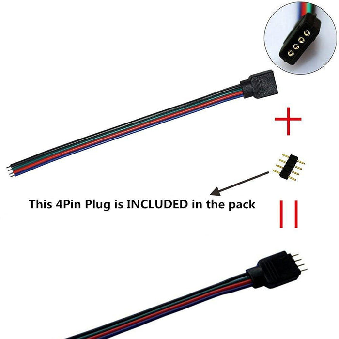 10pcs Pack RGB LED Light Strips Connector with 4Pin plug RGB LED Strip Connector Cable for SMD 5050/3528 RGB LED Strip light - 15cm/6 Inch - LEDStrips8