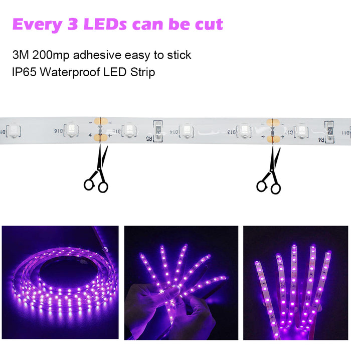 24W UV Black Light LED Strip, Ultraviolet Waterproof IP65 16.4FT/5M 3528 300LEDs 395nm-405nm Blacklight DJ Bar Club Party Decor Night Fishing with 12V 2A Power Supply