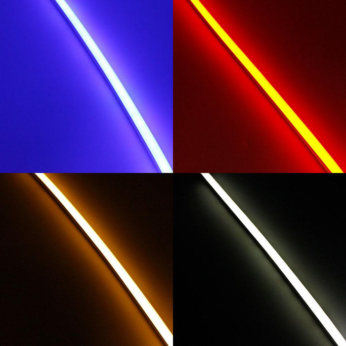 1M/5M/10M/20M  Pack of T1220 3 Sides Edge Lighting LED Neon Light Housing Kit with End Caps and Mounting Clips, Flexible Neon Channel Fit for 10mm Wide LED Strip Lights - LEDStrips8