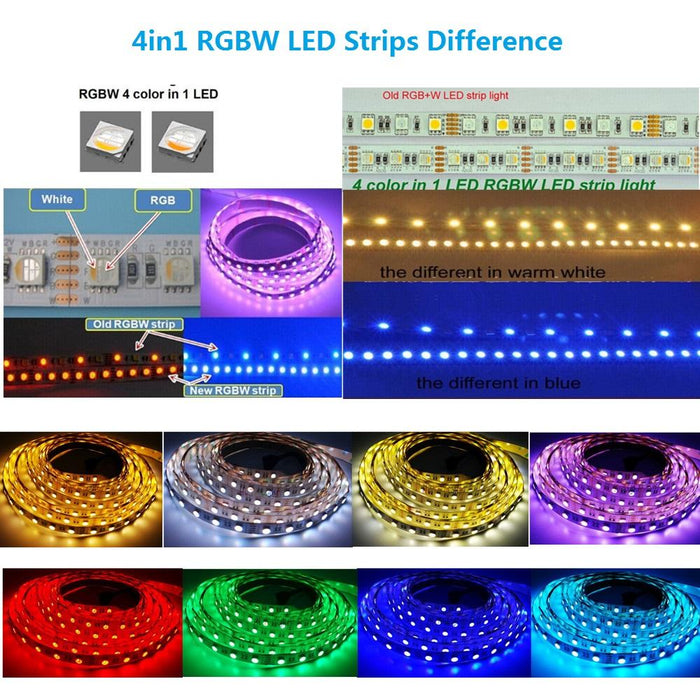 DC 12V RGBW/RGBWW High Density 60LEDs 19.2W per Meter 4in1 SMD5050 RGBW LED Flexible Strip Light - LEDStrips8