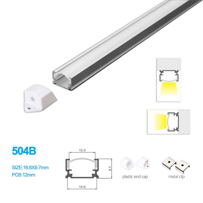 5/10/25/50 Pack 14.6MM*9.7MM LED Aluminum Profile for LED Rigid Strip Lighting with Ceiling or Wall Mounting - LEDStrips8