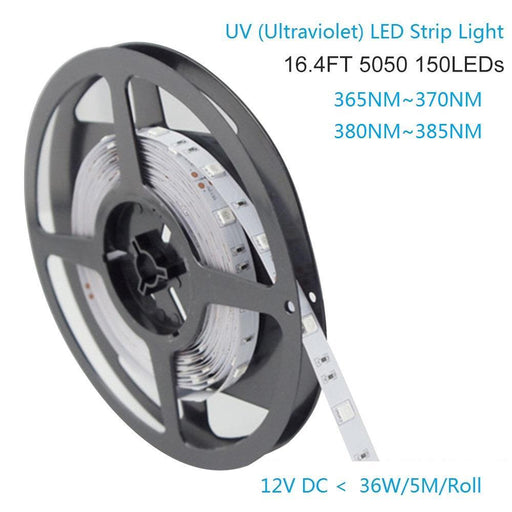 365nm & 380nm SMD5050-150 12V 3A 36W UV (Ultraviolet) LED Strip Light  Flex White PCB Ideal for UV Curing, Currency Validation, Medical Field - LEDStrips8