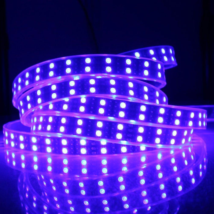 DC 12V RGB Color Changing SMD5050-600 Double Row Flexible LED Strips 120 LEDs Per Meter 15mm Width - LEDStrips8