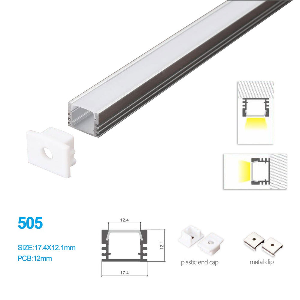 5/10/25/50 Pack 17.4MM*12.1MM LED Aluminum Profile for LED Rigid Strip Lighting with Ceiling or Wall Mounting - LEDStrips8