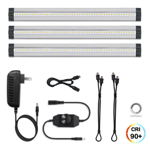 3 Pack LED Under Cabinet Lighting Dimmable Cool White, 15W 900LM CRI90, All Accessories Included - LEDStrips8