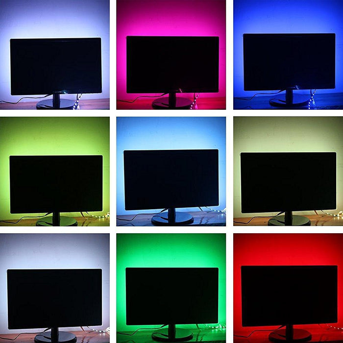 INSTALLATION TIME SAVING, S-Shape Bias Lighting for HDTV -3.3ft/1M and 6.6ft/2M RGB LED Backlight Strip 12V Powered Bendable Strip Kit for Flat Screen TV LCD, Desktop Monitors. No Need to Cut. - LEDStrips8