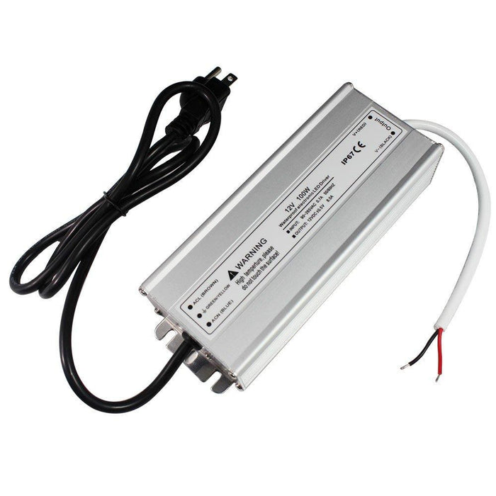 Waterproof IP67 LED Power Supply Driver Transformer 100W 110V AC to 12V DC Low Voltage Output with 3-Prong Plug 3.3 Feet Cable for Outdoor Use - LEDStrips8