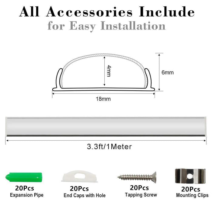 5Pack 1Meter (40'') Bendable Aluminum Channel System with Cover, End Caps, and Mounting Clips, for LED Strip Installations, Ultra-Thin Silver Finish - LEDStrips8