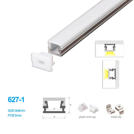 5/10/25/50 Pack 8MM*8MM LED Aluminum Profile with Flat Milky White Cover Surface Mounting for LED Rigid Strip Lighting System - LEDStrips8
