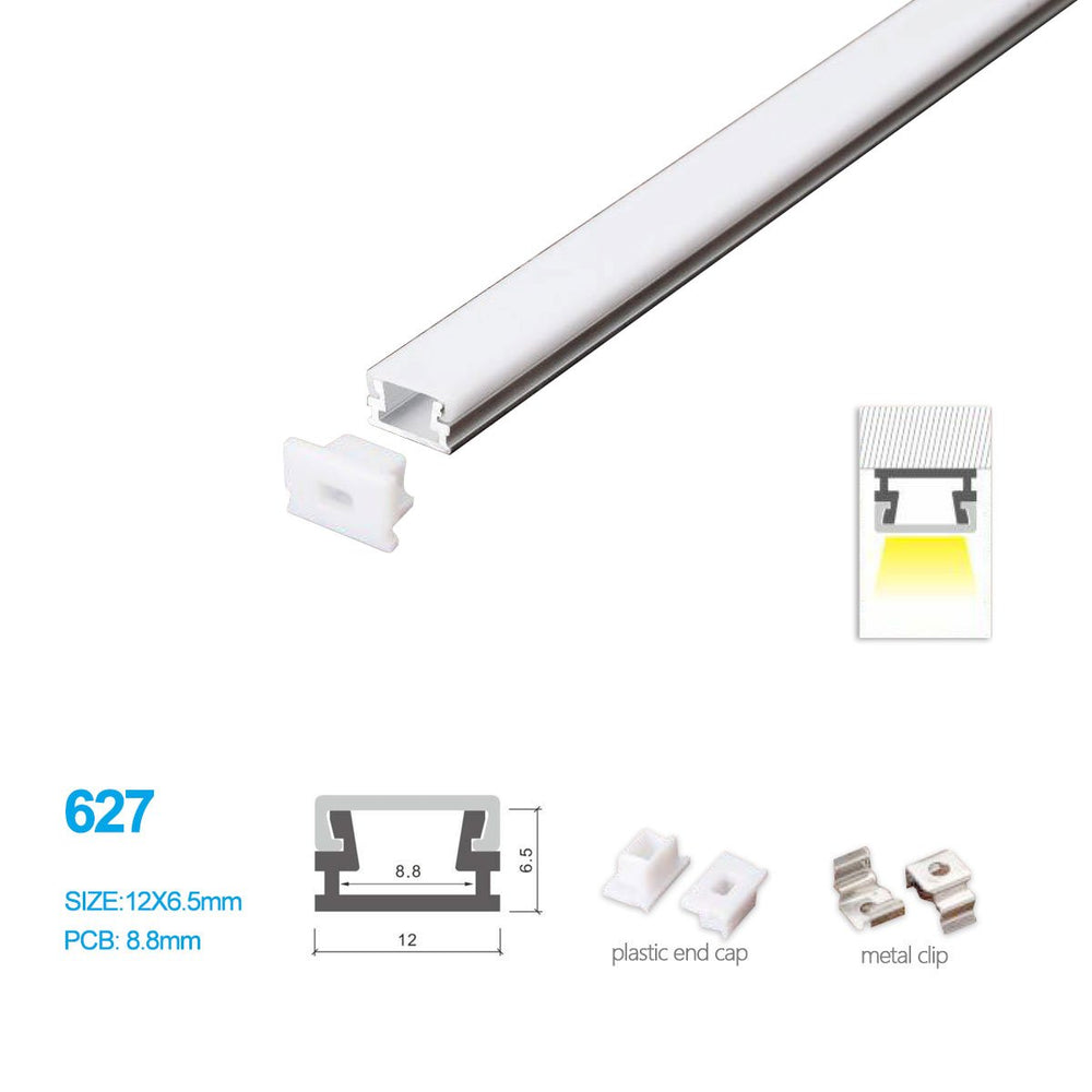 5/10/25/50 Pack 12MM*6.5MM LED Aluminum Profile with Flat Milky White Cover Surface Mounting for LED Rigid Strip Lighting System - LEDStrips8