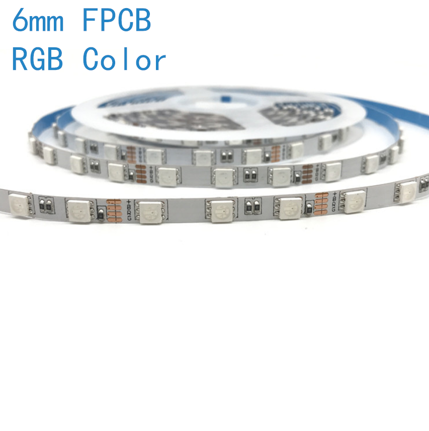 6mm Wide Slim RGB Color LED DC12V <60W 5Amp 5Meter (16.4Feet) SMD5050 300LEDs/Roll Multi-Color Changing Flexible light Strips,White FPCB - LEDStrips8