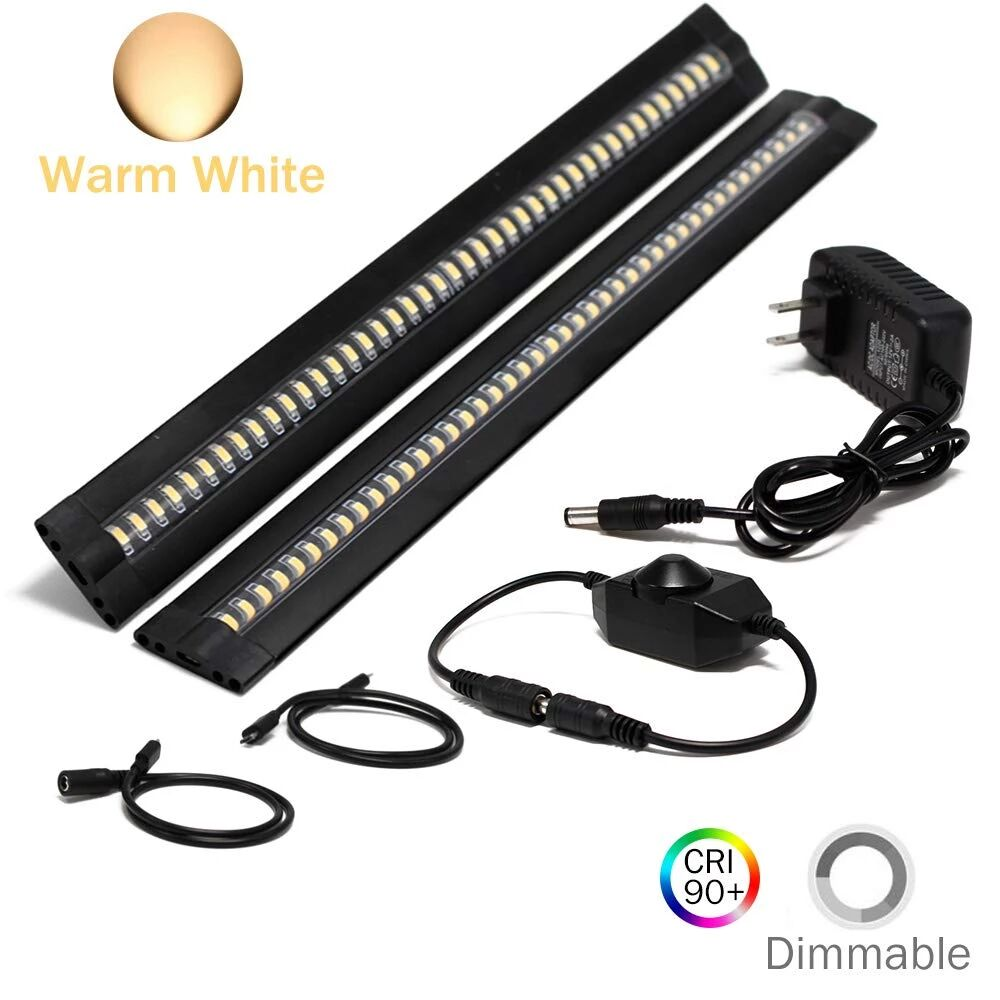 Ultra Thin LED Under Cabinet/Counter Kitchen Lighting Plug-in, Dimmable 2 Coin Thickness LED Light with 42 LEDs, Easy Installation Warm White 12V/1A 5W/450LM CRI90, 2 Pack, All in One Kit - LEDStrips8