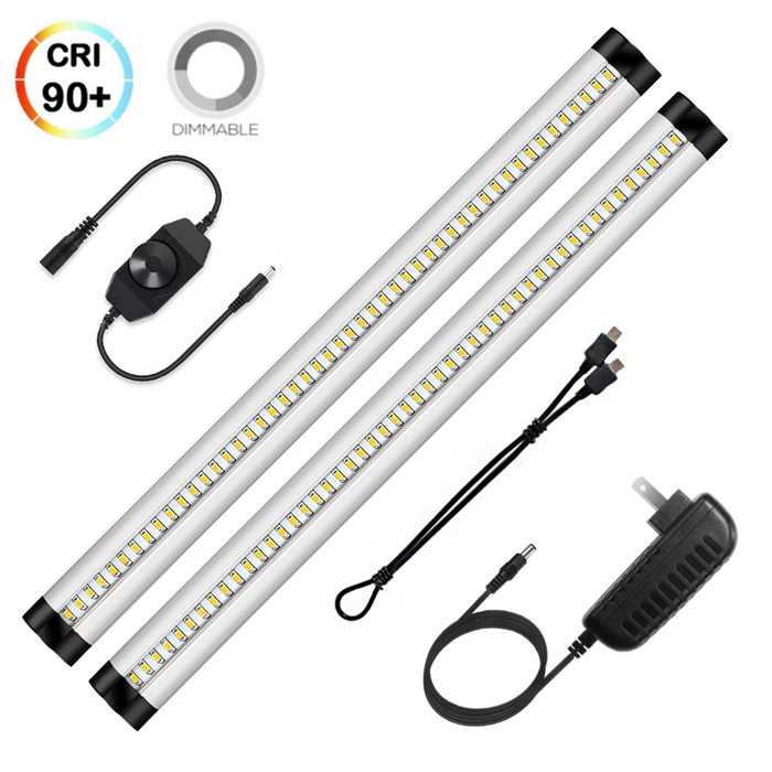 Ultra Thin LED Under Cabinet Lighting, Dimmable Under Counter Lighting, 10W 600LM CRI90, Warm White 3000K, All Accessories Included, 2 Pack - LEDStrips8