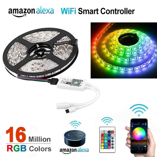 WiFi IP65 Waterproof LED Light Strip Music Sync Remote Controlled by Alexa Echo Android ISO Smart Phone 16.4ft Cuttable 12V RGB 300LED SMD5050 Strip with 24 Keys Controller & 8Amp 96W Power Supply - LEDStrips8