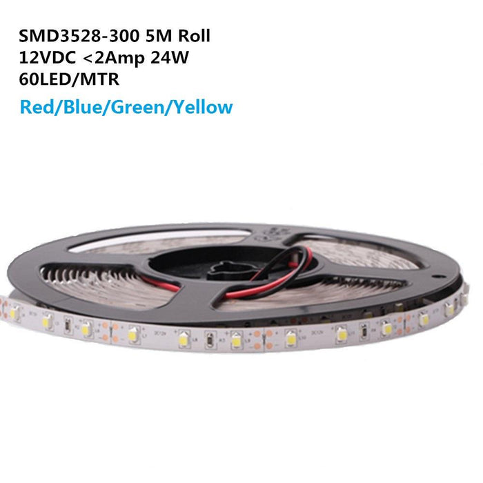 DC 12V Red/Blue/Green/Yellow Dimmable SMD3528-300 Flexible LED Strips 60 LEDs Per Meter 8mm Width 300lm Per Meter - LEDStrips8