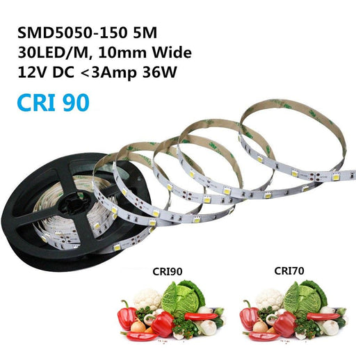 High CR I> 90 DC 12V Dimmable SMD5050-150 Flexible LED Strips 30 LEDs Per Meter 10mm Width 450lm Per Meter - LEDStrips8